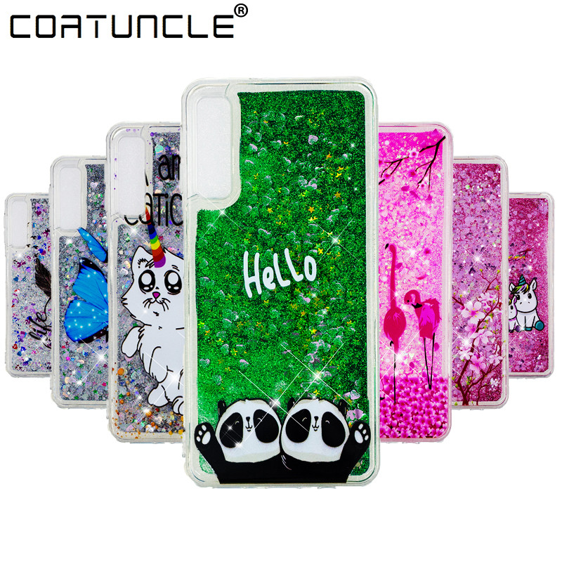A7 2018 Silicone Case on For Fundas Samsung Galaxy A7 2018 Case Liquid Glitter Soft Cover For Coque Samsung A7 2018 Phone Cases