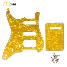 цены на Pleroo Guitar Accessories Pickguard with back plate and 17 screws for fender Left handed Deluxe stratocaster HSS Scratch Plate в интернет-магазинах