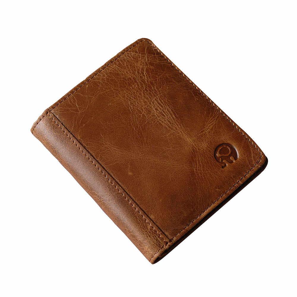 4eeeb58599e7 ... Genuine Leather Wallet Fashion Short Bifold Men Wallet Casual Soild Men  Wallets With Coin Pocket Purses ...