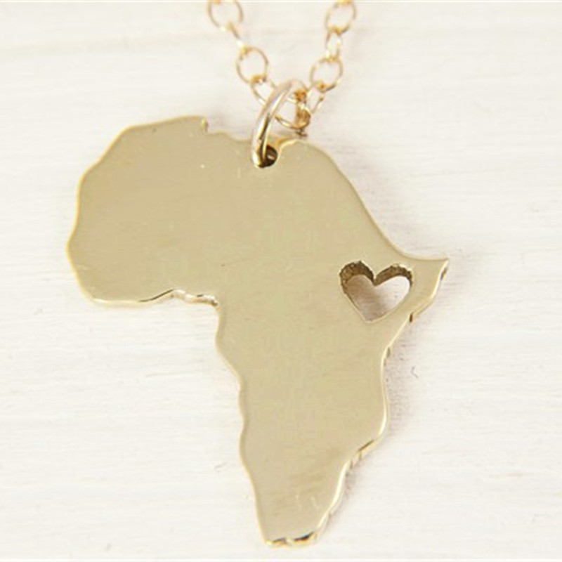 Sykesha 2018 Hot Selling Africa Map States Pendant Necklace Africa Map Charm Necklace Patriot Jewelry Lovers Christmas Gift