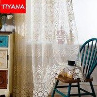 יוקרה אירופאית רקום אדום וואל וילונות לסלון כחול פרחוני חוט Cortinas טול עבור חלון מרפסת חדר שינה WP0662