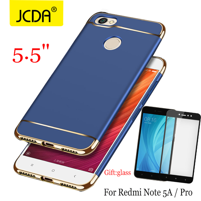 new styles b520a 095e8 US $4.99 |JCDA Case for Xiaomi Redmi note 5a Prime case for redmi note 5a  pro back cover Luxury 3in1 case for redmi note 5a prime+glass-in Fitted ...
