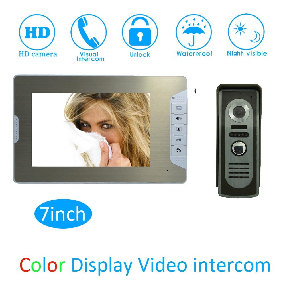 (1 Set) Smart Home Door Access Color Monitor Intercom System HD Camera 7