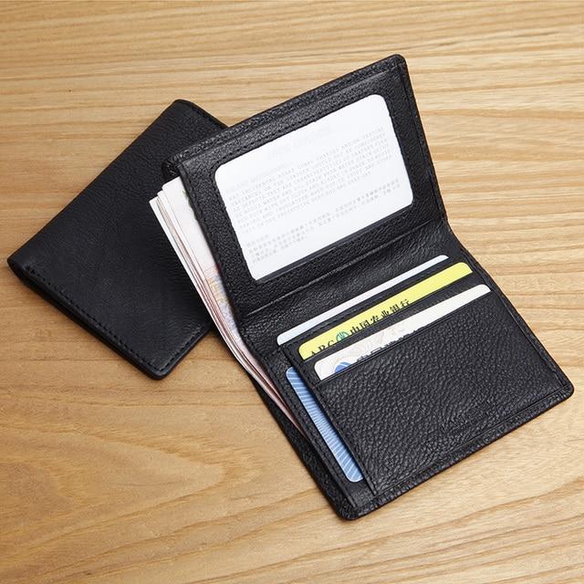 3924624dc187 LANSPACE men s leather wallet brand vertical small wallet fashion slim purse