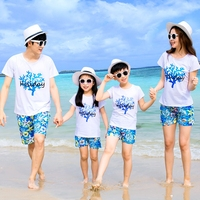 2018 New Family Outfits Woman Man Girl Boy Sets Holiday Short Sleeve Cotton T Shirt Shorts