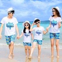 2018 New Family Outfits Woman Man Girl Boy Sets Holiday Short Sleeve Cotton T Shirt Shorts