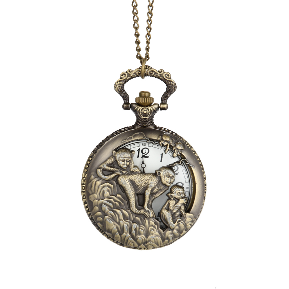 Vintage Chinese Zodiac Monkey Quartz Pocket Watch Necklace Pendant Chain Clock For Women Men Gifts LL@17