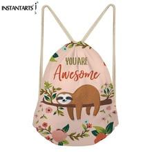 INSTANTARTS Drawstring Bag Brand Design Sloth Print Women Men Mini Drawstring Backpack String Sack Bag Shoulder Bag Cinch Sack