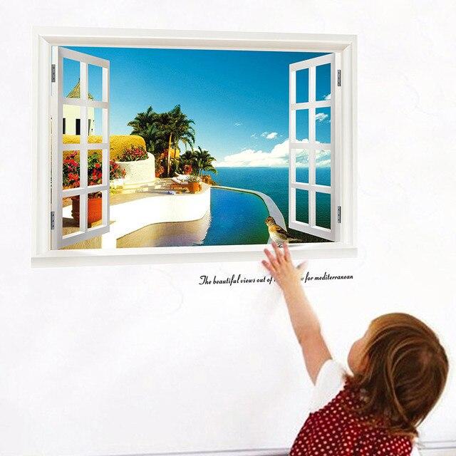 3d windows wall stickers sea beach decals 822. landscape scenery