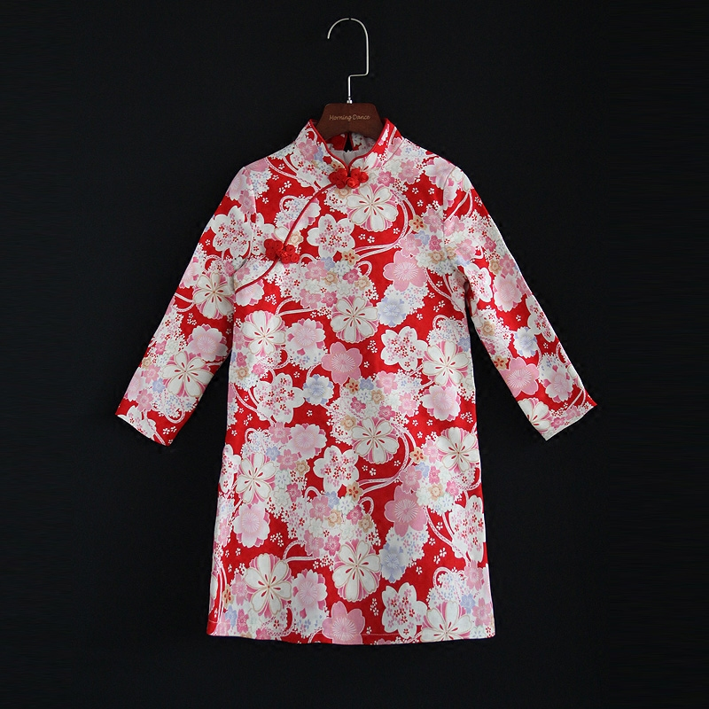 Autumn Winter mother daughter mom baby kids girls red flower print cotton straight dress Chinese cheongsam family look clothes 2017 autumn chinese style girl dress cotton short sleeve chinese cheongsam for kids baby girls qipao girls clothes