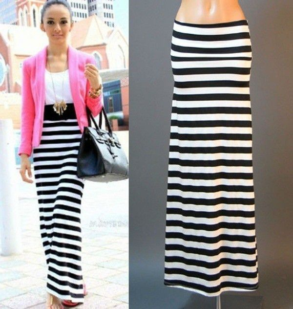d2106aee41f USA BLACK WHITE STRIPED URBAN STREET JERSEY KNIT FULL LENGTH MAXI SKIRT S M  L XL