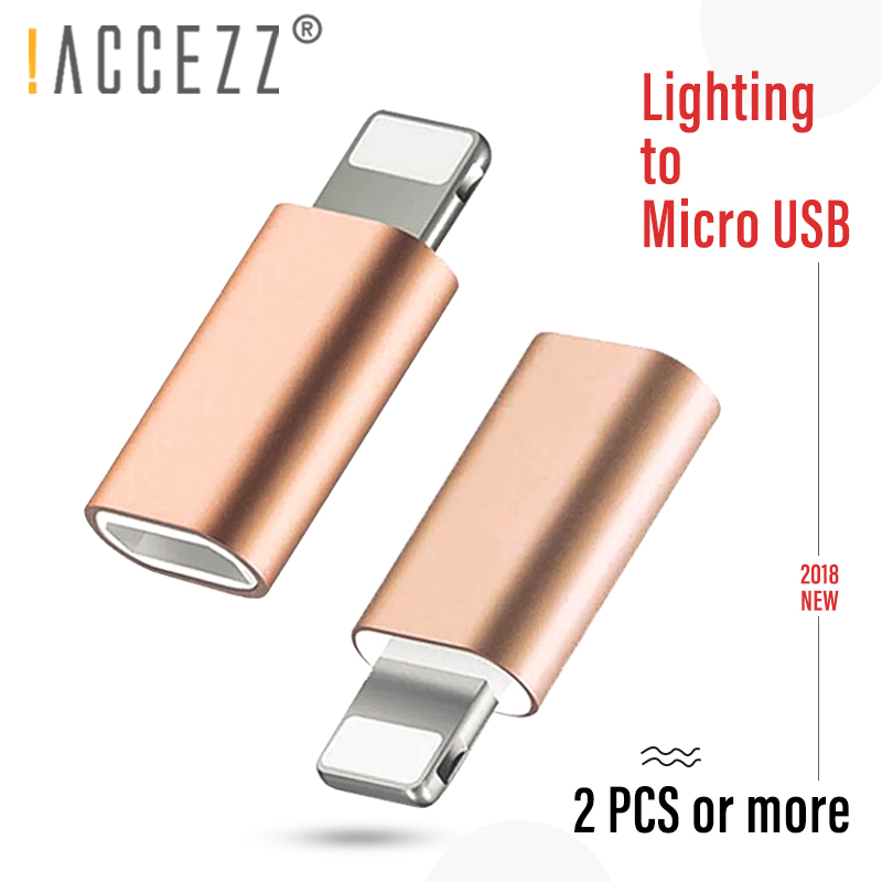 !ACCEZZ 5PC Mini Micro USB To Lighting For Apple Adapter For Iphone X XS XR 6S 7 5S Plus PC Data Charging OTG Converter For Ipad