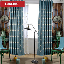Summer Style Linen Curtains For Living Room Blackout Curtain Drapes Patchwork Window TrimChina