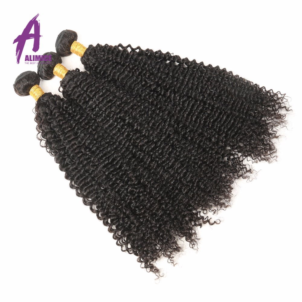 Raw Indian Hair 3 Bundles Kinky Curly Hair 100% Human Hair Weave Bundles Natural Color 8-30 inches 100g/pc Non Remy Hair Weaving