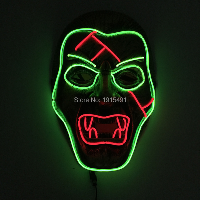 Rave Costume Led Light Mask Masquerade Scary Party Lights EL Cold Light Creepy Joker Zombie Mask Carnival Mardi Gras Supplies