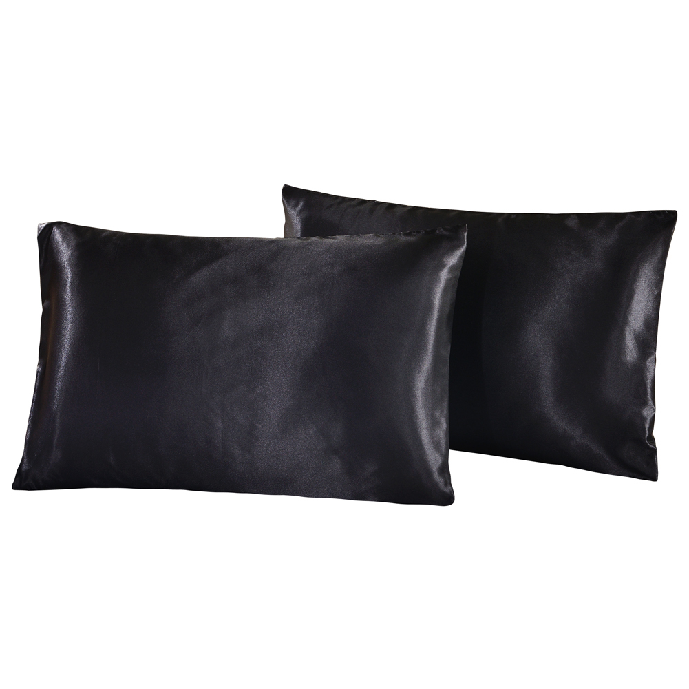 us uk russia size 2pcs 1pair pillow case satin solid color silk pillowcase pillow shams twin. Black Bedroom Furniture Sets. Home Design Ideas