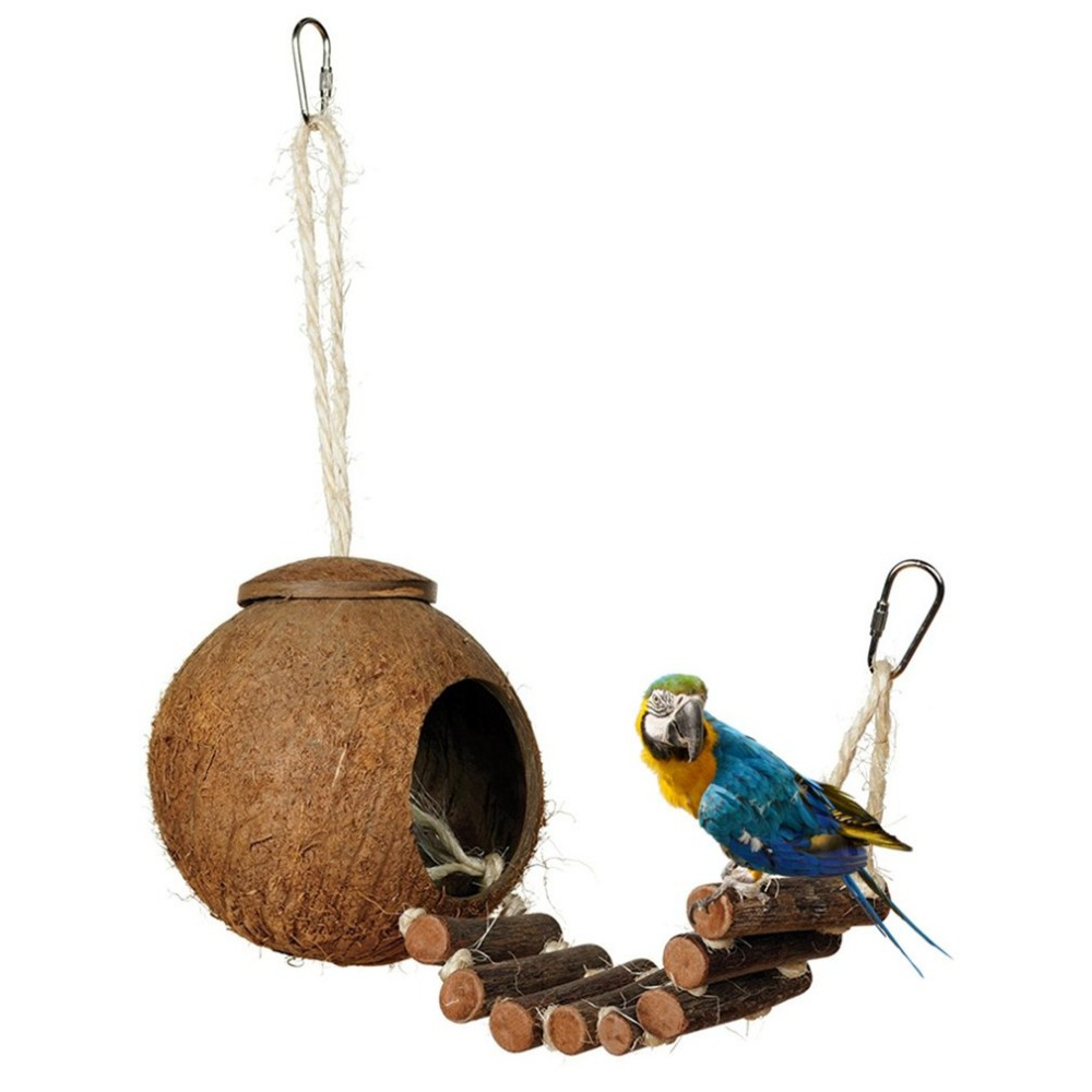 2 Type Cute Comfortable Design Natural Coconut Shell Bird Nesting House Small Size Pet Parakeet Finche Sparrows Cage With Ladder