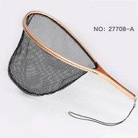 LEO Fly Hand Fishing Accessories Landing Net Wooden Handle Nylon Fishing Landing Net Fishing Net