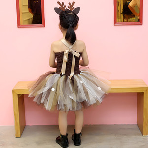 Image 5 - Girls Reindeer Dress Up Costumes Children O neck Pattern Solid Dress Christmas Birthday Party Kids Dresses for Girls Ball Gown