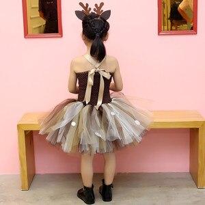 Image 5 - หญิงReindeerเครื่องแต่งกายเด็กO Neck SOLIDชุดวันเกิดคริสต์มาสชุดเด็กสำหรับสาวบอลชุด