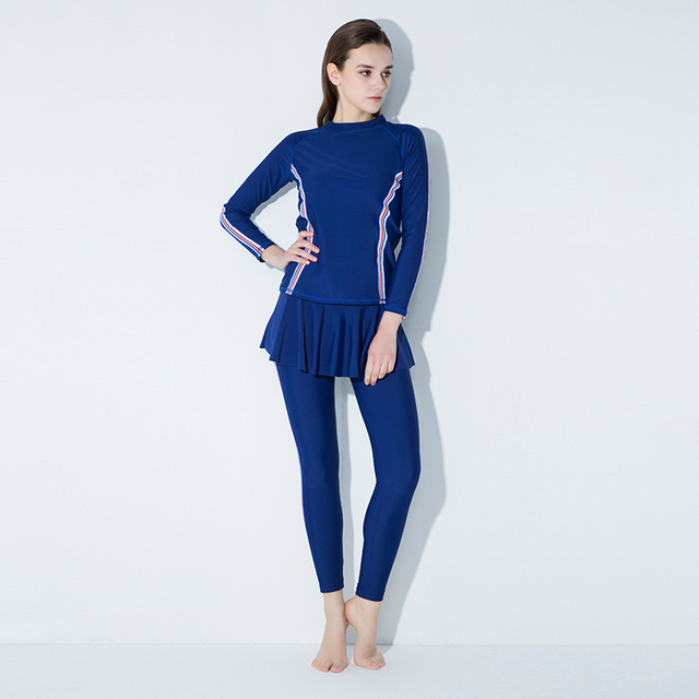 3b0b816a626ee Flouncing Dress Swimming Suit Full Body Covered Surfing Suit Long Sleeves  Long Pants Rash Guards Two