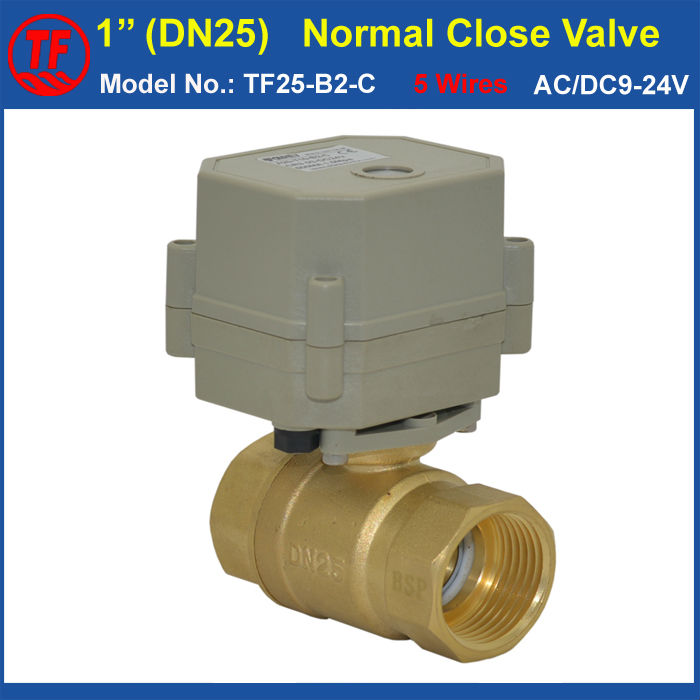 AC/DC9-24V 5 Wires Brass 2 Way NPT/BSP 1 Normal Close Valve With Signal Feedback DN25 Metal Gear Electric Shut Off Valve ac110 230v 5 wires 2 way stainless steel dn32 normal close electric ball valve with signal feedback bsp npt 11 4 10nm