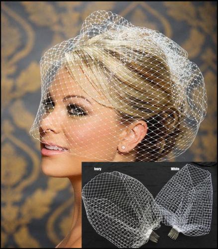 New White Ivory Black Bridal Net Birdcage Veils Charming Wedding Veil Hats Fascinator Face Veils With Comb UK