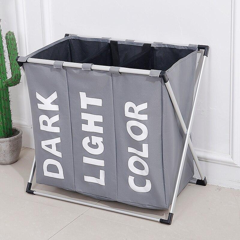 SHUSHI ropa sucia canasta de almacenamiento de lavandería tres rejilla organizador baño cesta lavandería inicio Oficina de almacenamiento de la cesta