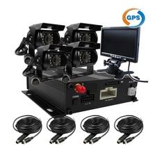 Free Shipping 4CH GPS Track G-sensor SD Car Vehicle DVR MDVR Video Recorder Duty Metal IR Car Truck Camera Kit + 7″ Car Monitor
