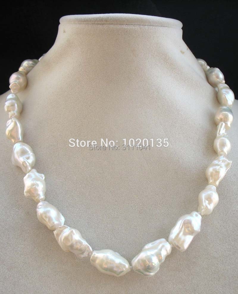 white freshwater pearl reborn keshi baroque 16-22mm necklace 18
