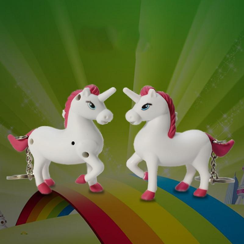 1 Pcs Cute New arrive the unicorn LED Keyring with sound,Children Toys Christmas gift,lovely cartoon animal Led keychain