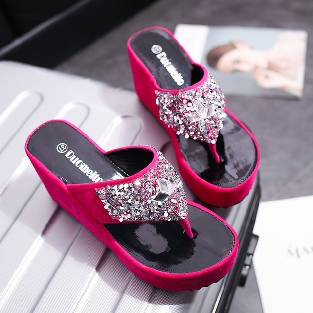 208d1b628 Flock Crystal Bling Platform Fashion flip flops women shoes slides 2018  summer female designer ladies outdoor footwear light gg