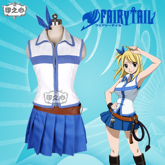 Anime Fairy Tail Lucy Heartfilia Cosplay Costume Sexy Tee Tops+ Skirt Full Set Unisex Role Play Clothing Custom-Make Any Size