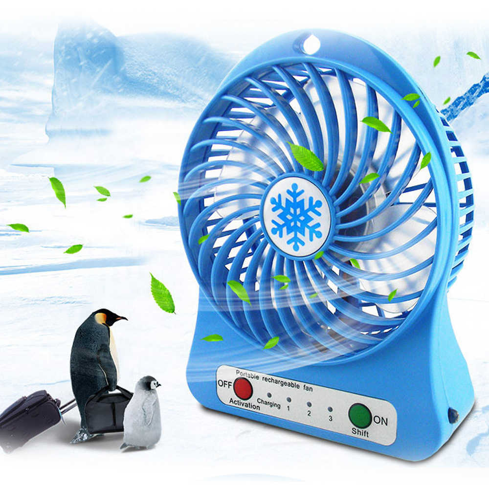 1PC Adjustable 3 Speed USB Rechargeable Fans Summer Air Cooler Portable Personal Mini Fan With LED Light Office Desk Cooler Fan
