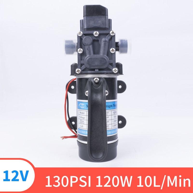 DC 12V 130PIS 120W 10L / Min High Quality Safety High Pressure Miniature Diaphragm Self-priming Pump For Liquid Filling Machine