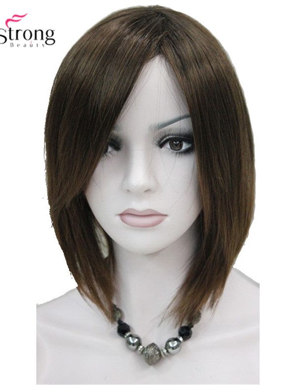 Short Straight Brown Highlighted Bob, Side Swept Bangs Synthetic Wig