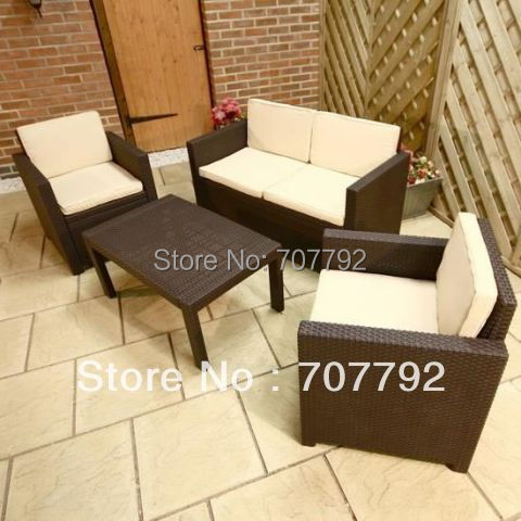 Outdoor Rattan Garden Furniture 4 Seater Lounge Sofa Set