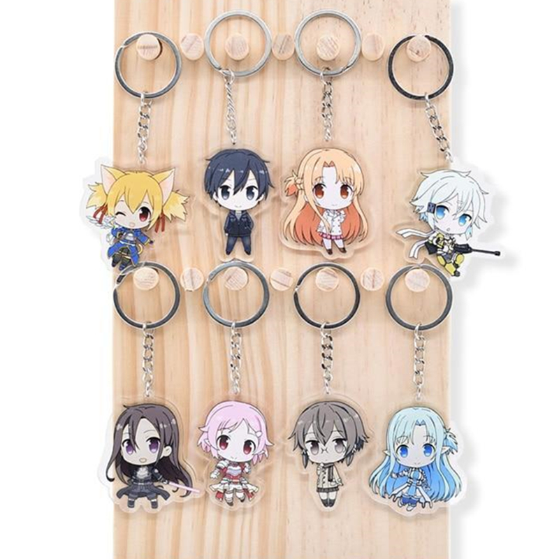 Anime Sword Art Online Kirito Asuna Two Sided Acrylic Keyring Keychain Key Chain