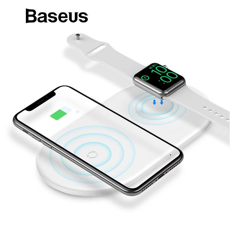 Baseus 2 em 1 Relógio Maçã Carregador Sem Fio Para o iphone X XS Max XR 3 Carregador Para Samsung S8 2 s9 10 w Rápida Almofada de Carregamento Sem Fio