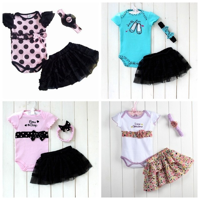 ec967e97e4a0 Baby sets baby Three piece set romper+skirt+headband baby clothing ...