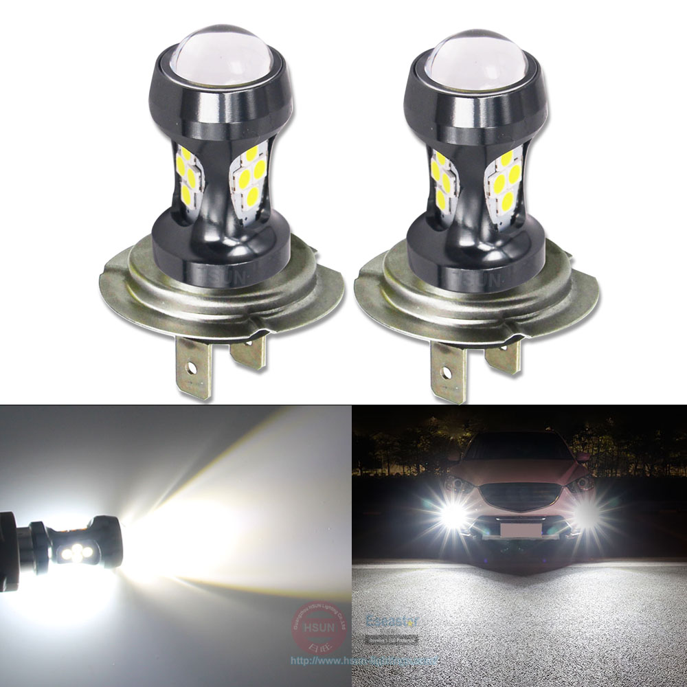 Eseastar 2Pcs Car Front Fog Lights Daytime Running Light <font><b>H7</b></font> LED Bulbs High Power <font><b>2000LM</b></font> White Yellow Auto H 7 Lamp 12-24V image