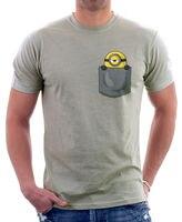 Minion no meu bolso bonito paródia engraçada de zinco de algodão t-shirt dos homens das mulheres banda de Rock manga curta Tops Tees T Shirt Euro tamanho S-3XL