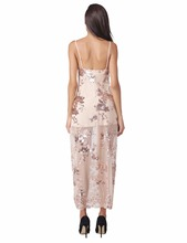 Womens 2017 Summer Maxi Dress Sleeveless Deep V Neck Off Shoulder Sequined Slim Fashion Halter Dress Apricot