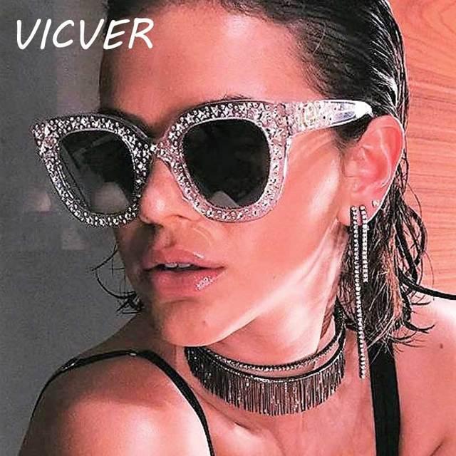 a4f366ac549 Diamant lunettes de Soleil Femmes Italie Marque Designer Vintage Cristal  lunettes de Soleil Femme De Luxe