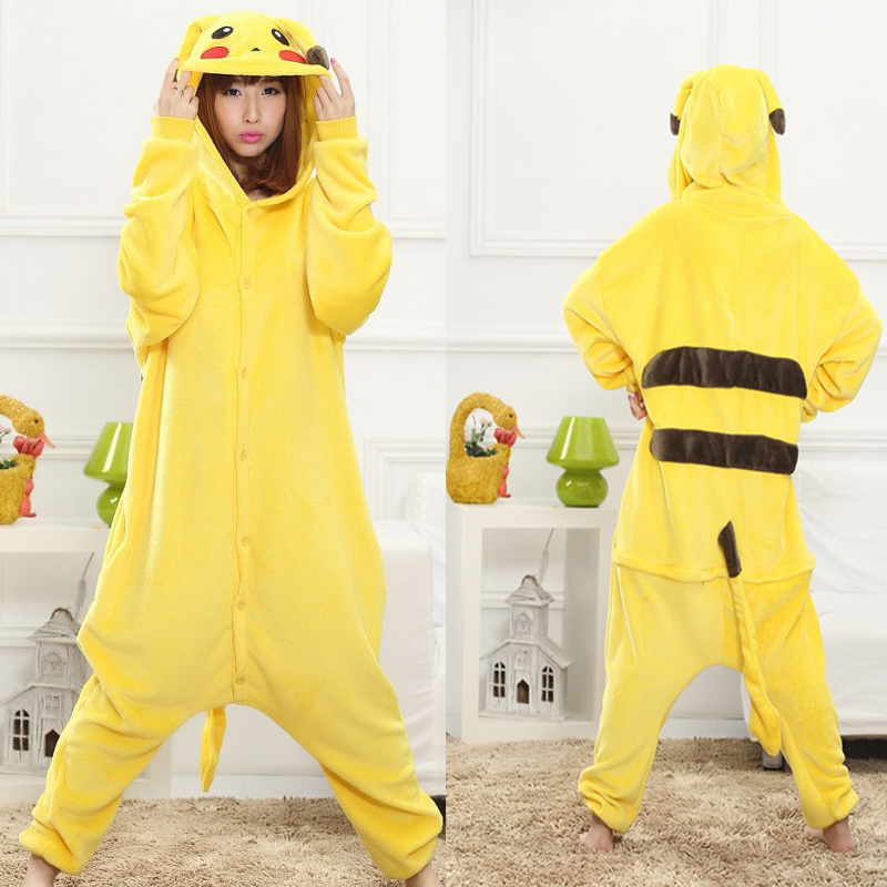 Kigurumi Pikachu Cute Flannel Homewear Onesies For Adults Long Sleeve Hooded  Pikachu Animal Pajamas