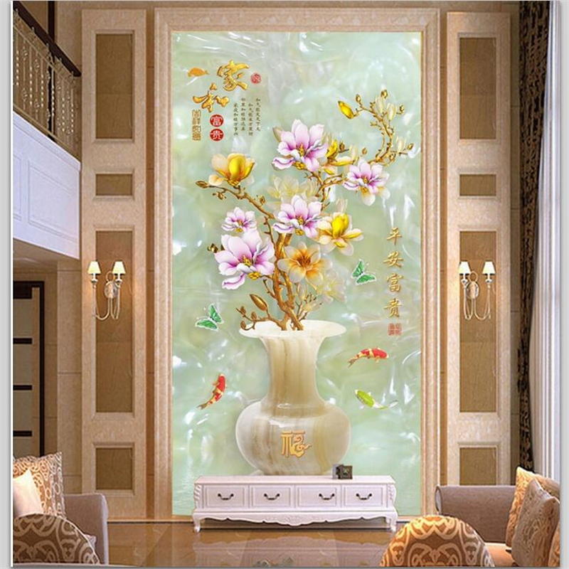 beibehang Custom wallpaper 3d entrance customs safe and wealthy vase jade carved mystery background wallpaper papel de parede 3d