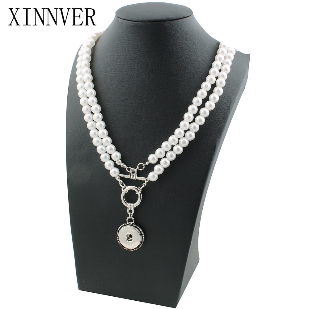 NEW Elegant Imitation pearls Snap necklace&bracelets 72cm fit DIY 18MM xinnver snap buttons jewlery wholesale women ZG119