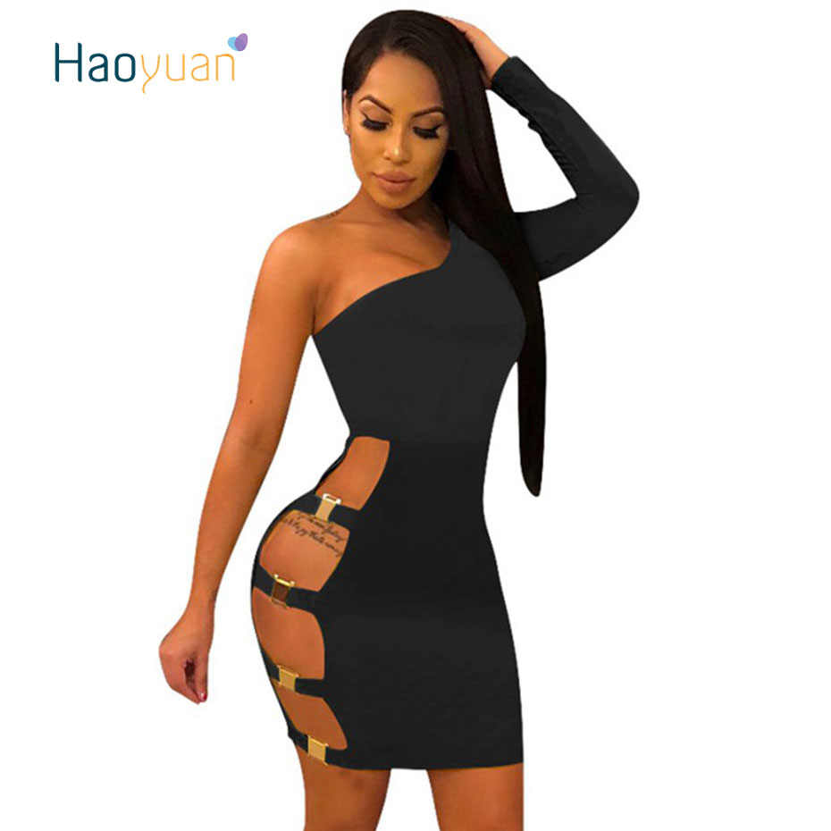HAOYUAN One Shoulder Sexy Dress Women Summer New Vestido Long Sleeve Hollow  Out Bodycon Dresses Package 83b9a6d34