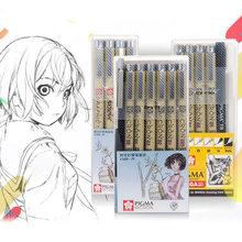 Marqueurs Pigma Micron stylo aiguille doux pinceau dessin peinture étanche stylo 005 01 02 03 04 05 08 1.0 pinceau Art marqueurs