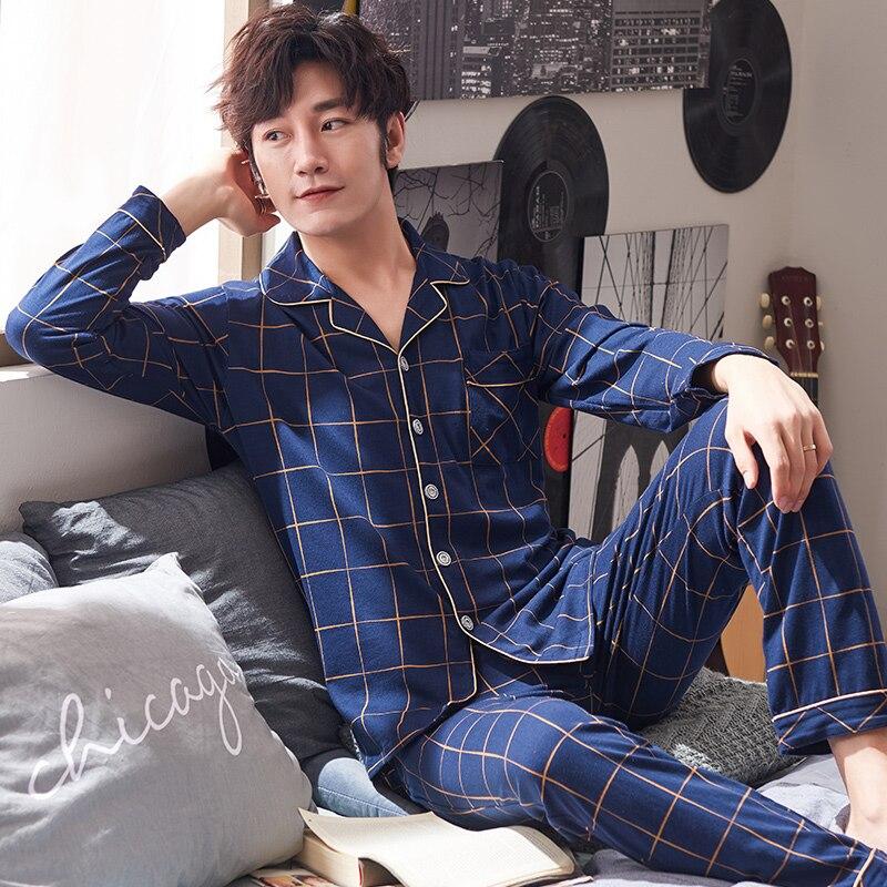 L-4XL Men Pajamas Set Plaid Sleepwear Cotton Nightwear Long Sleeved Male Sleep Clothing Plus Size Nighties Autumn Homewear